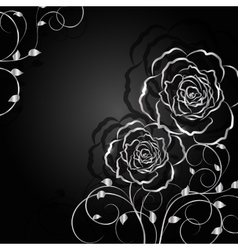 Silver flowers with shadow on dark background vector