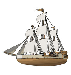 Simple an old sailing ship white backgorund vector