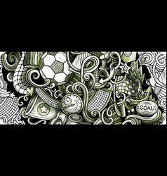 Soccer hand drawn doodle banner cartoon detailed vector