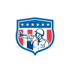 Soldier Blowing Bugle Crest Stars Retro vector