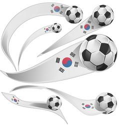 south korea flag set with soccer ball vector image