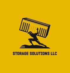 Spartan soldier holding storage logo vector