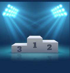 sports winner empty podium illuminated by vector image vector image