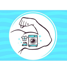 Strong man hand with icon of washing mac vector