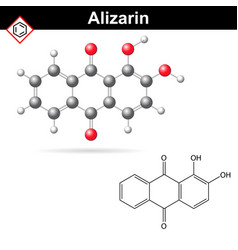 Structural chemical formula and model of alizarin vector