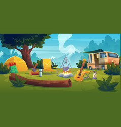 Summer camp with bonfire tent van and backpack vector