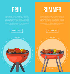 Summer grill party flyers with meats on barbecue vector