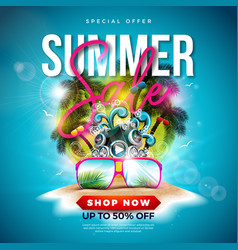 Summer sale design with palm trees and sunglasses vector