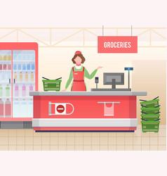supermarket store assistant happy cashier woman vector image