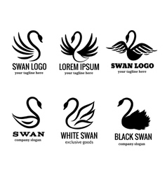 Swan logo set black logotypes vector