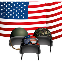 united state flag with military helmet vector image