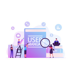 User manual concept people with some office stuff vector