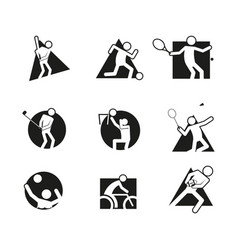 Various block sport abstract shape symbol graphic vector