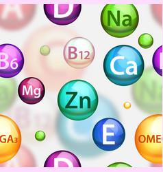 vitamin complex seamless pattern vector image
