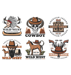 wild west icons cowboy and horses vector image
