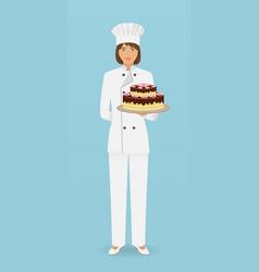 Woman confectioner character standing in uniform vector