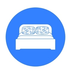 Wooden double bed icon in black style isolated on vector image
