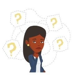 Young businesswoman thinking vector