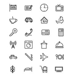 Hotel and Restaurant Line Icons 1 vector image vector image
