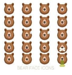 Set of bear face icons vector image
