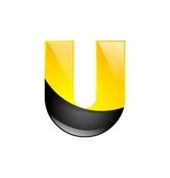 Creative yellow and black symbol letter U for your vector image vector image