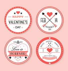 cute pink valentines day and romantic badges set vector image