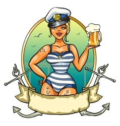 Pin Up Sailor Girl with cold beer vector image