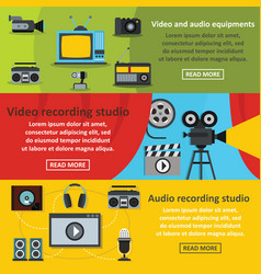 video audio tool banner horizontal set flat style vector image