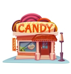 Candy shop building with bright banner vector image