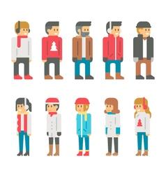 Flat design winter people vector image vector image