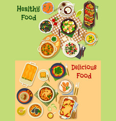 meat seafood dishes icon for healthy food design vector image vector image