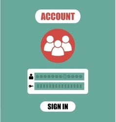 Member Login Form into account managment page ui vector image vector image
