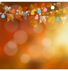 Autumn card garden party decoration maple oak vector