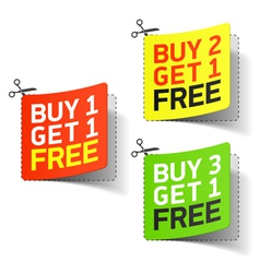 Buy 1 Get 1 Free promotional coupon vector image vector image