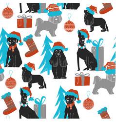 christmas dog seamless pattern vector image vector image