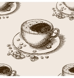 Cup of coffee hand drawn seamless pattern vector image