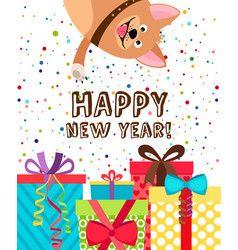 happy new year dog invitation vector image