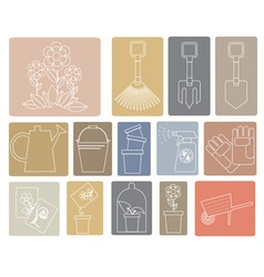 Line icons garden tools vector image vector image