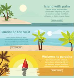 palm coast rest banner horizontal set flat style vector image vector image