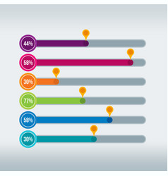 progress bars infographic in multiple colors vector image