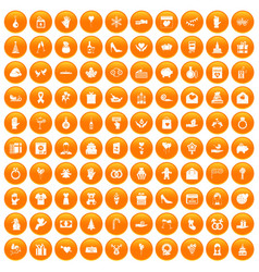 100 gift icons set orange vector