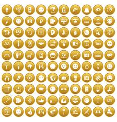 100 social media icons set gold vector