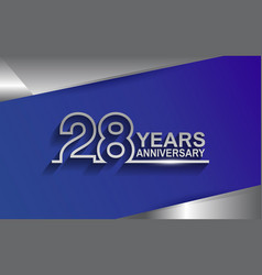 28 years anniversary silver color line style vector