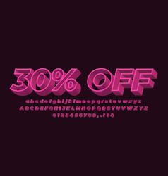 30 off sale text font modern 3d pink light vector