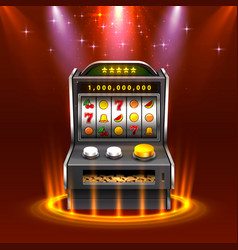 3d slots machine wins jackpot isolated on vector