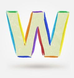 Alphabet letter W Watercolor paint design element vector