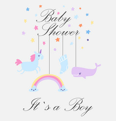 Baby boy shower card its vector