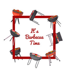 Barbecue time poster with charcoal grills vector