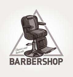 barber shop triangular sketch emblem vector image