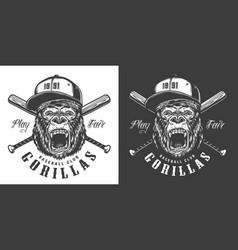 baseball club mascot label vector image